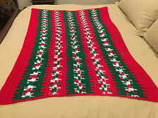 Handmade Afghan / Throw Blanket - Designer Collection - Red White & Green Rows