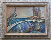 ARNOLD SIGNED MID CENTURY PAINTING EXPRESSIONIST COASTAL BEACH FRONT ABSTRACT