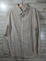 Banana Republic Mens Button Up Shirt XL Long Sleeve Brown Stripe