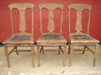 3 Antique Oak Formal T-Back Vase Back Dinning Room Chairs For Restoration   #117