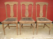 3 Antique Oak Formal T-Back Vase Back Dinning Room Chairs For Restoration #117