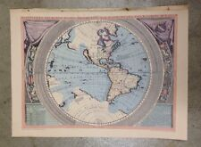 "Vintage Rand McNally Repro ""The New World"" Color Map 1695 Coronelli"