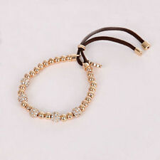 Fashion  Crystal  Bead Stretch Lock Plated Lock Pendant Gold Brand Bracelets