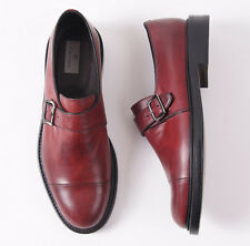 NIB $695 CANALI 1934 Red-Burgundy Leather Cap Toe Monk Strap US 9 D Shoes