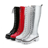 Hot Sale Womens Zipper Knee High Boots CHunky High Heels Lace Up Motocycle Shoes