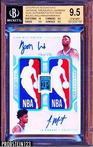 2019 National Treasures Dual NBA Logoman Zion Williamson Morant AUTO RC BGS 9.5