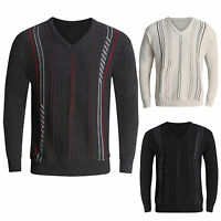 MENS JUMPERS V NECK CLASSIC CASUAL KNITTED STRIPED PULLOVER WITNER SWEATERS TOPS