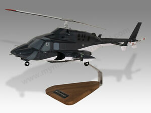 Airwolf Air Wolf Bell 222 222A Solid Mahogany Wood Helicopter Desktop Model