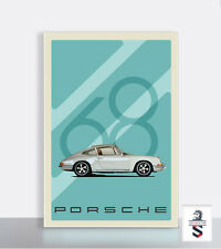"68 Porsche 911 Car Poster Plastic 18"" x 24"" Garage Sign."