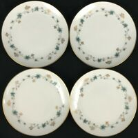 "Set of 4 VTG Bread Plates 6"" by Noritake Elmdale Blue Gold Leaves 6219 Japan"