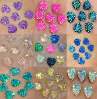 Delicate Lots 50Pcs Heart Shape Rhinestone Flatback Scrapbooking Jewelry 12mm