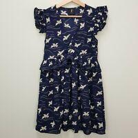 KAREN WALKER Runaway Womens Size UK/AU 6 or US 2 Butterfly Print Ruffle Dress