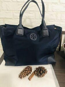 Tory Burch Large Ella Tote Bag Navy Blue,Saffiano Leather Gold Hardware 🥀Nylon