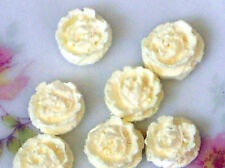 Vintage Cabochons Rosebud Roses Japan Celluloid NOS Carved Ivory Color #1230