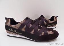 New NIB Coach Poppy Harmonie Khaki Brown Slip-On Laceless Signature Sneakers