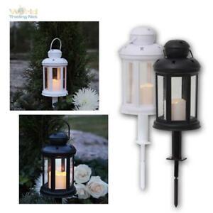 Laterne mit LED Kerze flackernd für Außen, 6/18h Timer, Gartenlaterne, Grablicht