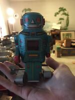 Vintage Noguchi Space Mighty Robot Wind Up Astronaut Tin Toy Japan 1960's