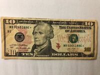 2013 $10 DOLLAR BILL US Bank STAR ✯ NOTE NEW YORK FEDERAL RESERVE MB 02651886 ✯