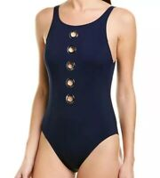 NWT Amoressa by Miraclesuit Women's High-Neck One-Piece Swimsuit Navy Size 12