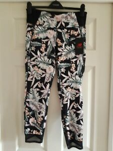 New Balance high rise 7/8 evolve tight leggings with floral print and mesh Large