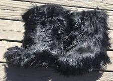 BLACK HAIRY GOAT FUR WOMENS CALF BOOTS TECNICA 42 1/2. 42.5 YETI MOON