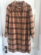 Vintage Pendleton Tan Red Black Plaid Wool Coat Women's L Button Front