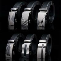 New Male Designer Automatic Buckle Cowhide Leather men belt Famous Brand