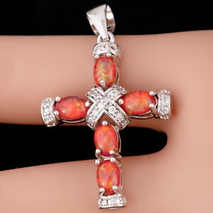 Ruby Red Fire Opal Cabochon CZ Latin Cross Silver Jewelry Pendant for Necklace