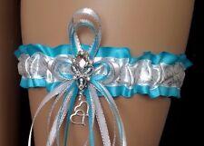 PLUS SIZE Handmade Turquoise Silver White GARTER Prom Wedding Bridal Lingerie