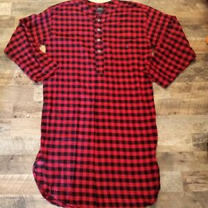 Polo Ralph Lauren Flannel Plaid Pajama Sleep Shirt Long Gown Nightshirt Size L