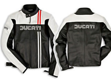 New Handmade Men's Ducati Classic 80s Leather Motorcycle Jacket