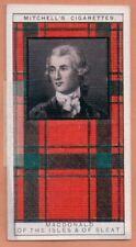 Macdonald Family Clan Celtic Tartan Pattern Scotland Kilt c90 Y/O Trade Ad Card