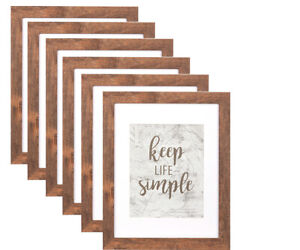 Quad Distressed Up-cycled Picture  Photo Frame Deep Cream Latte with Natural Wood and White Light Inner Frame Holds 4 Pictures