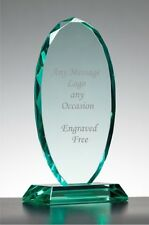 Personalised Engraved Jade Glass Award- Trophy Any text + Logo  gift boxed