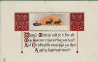 Vintage Antique Christmas Postcard Tuck's Christmas Greetings Series 1913 Sleigh