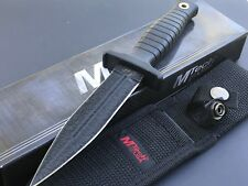 "MTECH Black Tactical 9"" Fixed Blade DOUBLE Edge Dagger BOOT Knife + Sheath New"