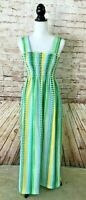 Vintage 1970's MARIAN SUE Smocked Maxi Long Sun Dress Gingham Check, size Small