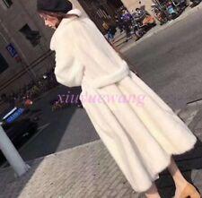 Real Genuine Mink Fur Long Coat Womens Soft Fur Thick Winter Warm Jacket Parkas