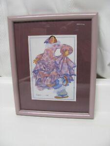 Vintage Barbara Lavallee Framed & Matted Print 1991 Alaska Native Art Watercolor