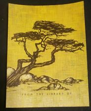 "Vintage Antioch Bookplate Tree and rocks ""From The Library Of"""