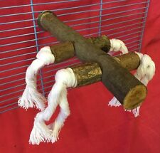 """Bird Perch Wood Rope 8"""" Interactive Exercise Play Fun Budgie Cockatiel Parrot"""