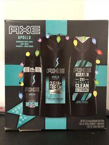 AXE Apollo Holiday Gift Set, Body Spray, Body Wash, Shampoo + Conditioner