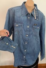 Wrangler premium shirt denim cowgirl western snap button Indigo Sz M FREE PEOPLE