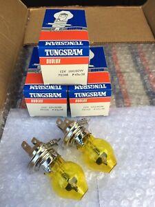 2 Light Bulbs H4 Yellow 12V New Stock D'Period Multi-Brand Vintage