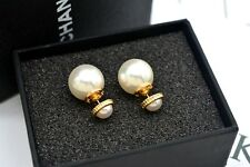 Gold Plated WHITE PEARL EARRINGS With Gift Box US Seller
