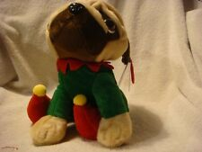 Keel Toys Pugsley Dog Pug in Christmas Santa Outfit 20cm Soft Toy