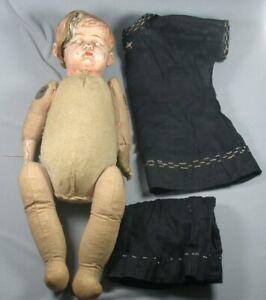 Antique Doll Molded Head Cloth Sawdust Body AS IS