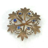 Antique 10K Yellow Gold Diamond, Sapphire & Pearl Snowflake Pin Brooch