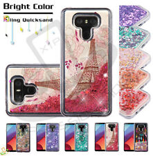 LG V40 ThinQ Bling Hybrid Liquid Glitter Quicksand Rubber Protective Case Cover