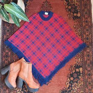 1970s 70s STYLE VINTAGE RETRO TARTAN RED BLUE CHECK PLAID PONCHO S M 6 8 10 12